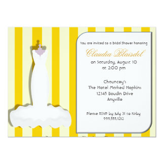 Custom Yellow Bridal Shower Invitations