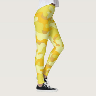 Custom Yellow Camouflage Leggings