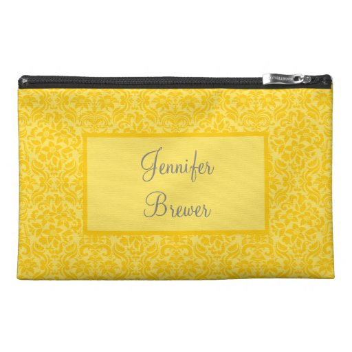 Custom Yellow Damask Accessory, Coin or Makeup Bag Travel Accessories Bag