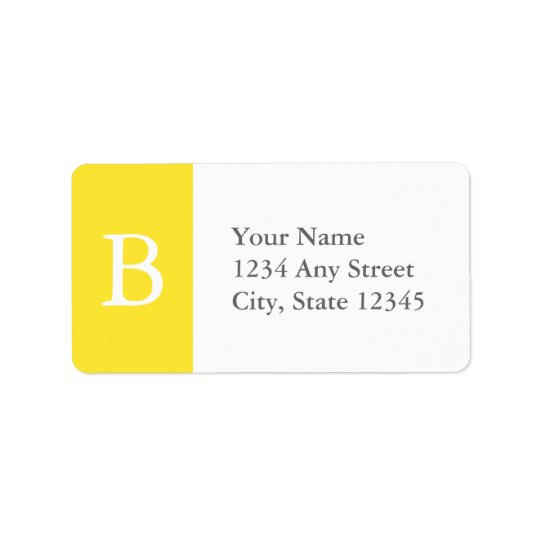 Custom Yellow & Grey Monogrammed Address Labels