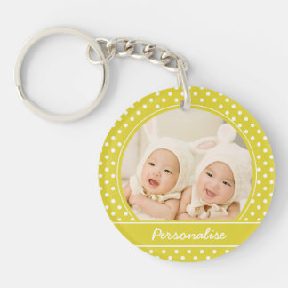 Custom Yellow Polka Dot Photo Keychain