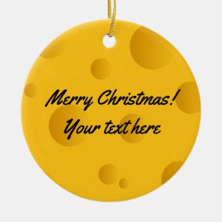 Custom yellow swiss cheese photo Christmas tree Ceramic Ornament