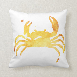 Custom yellow watercolour crab pillow