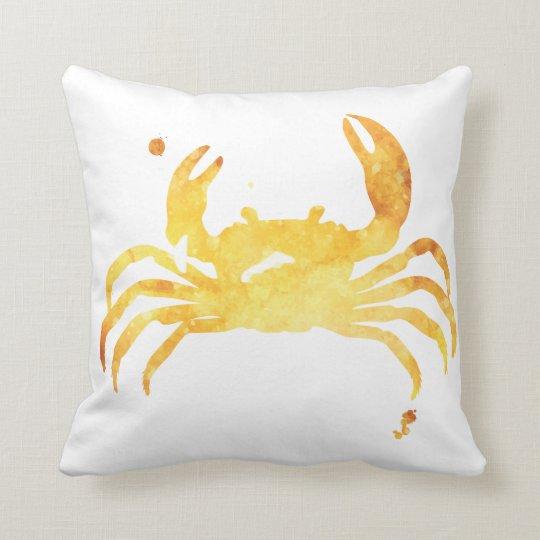 Custom yellow watercolour crab pillow