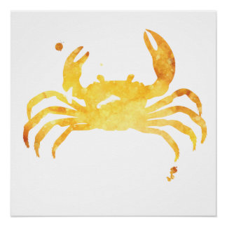 Custom Yellow watercolour crab poster