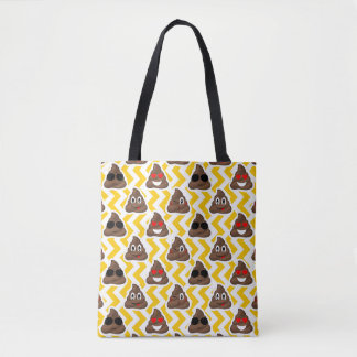 Custom Yellow Zig Zag Poop Emoji Tote Bag