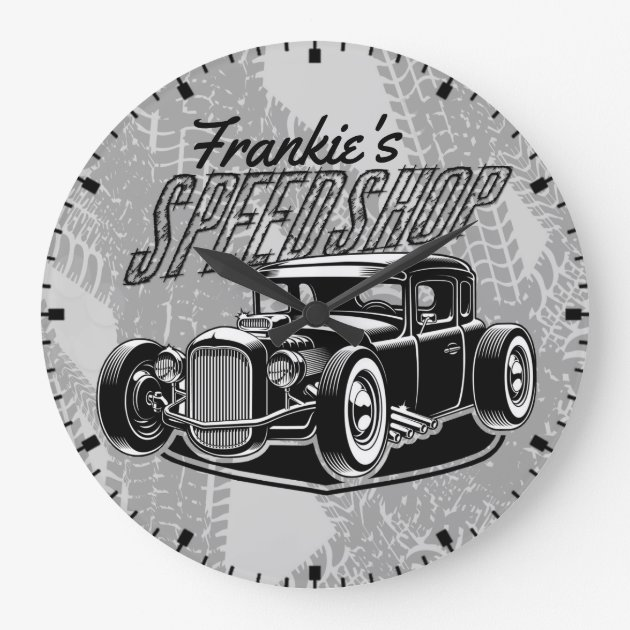 Custom Your Name Hot Rod Coupe Speed Shop Garage Large Clock Zazzle Ca