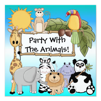 "Custom Zoo Animals Birthday Invitation 5.25"" Square Invitation Card"