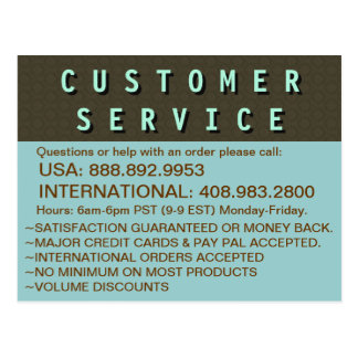 Customer Service Contact Information Postcard