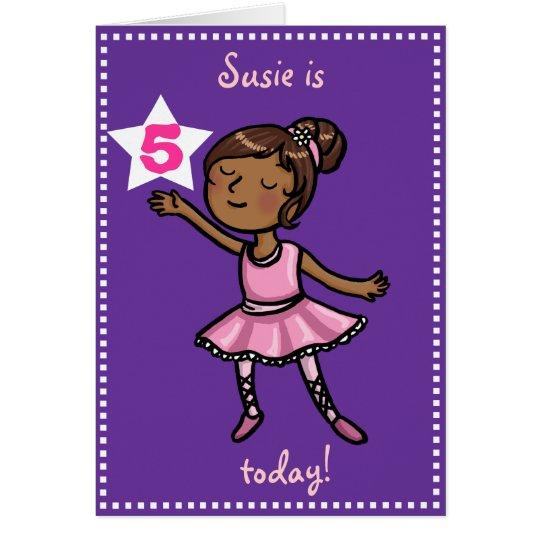 Customisable age Cartoon Ballet Dancer Card