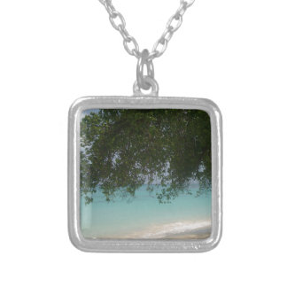 Customisable Barbados Beach Silver Plated Necklace