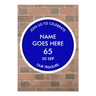 Customisable Blue Plaque Tribute Party Invitation