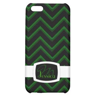 Customisable Chevron Emerald/Green (Monogram) iPhone 5C Cover