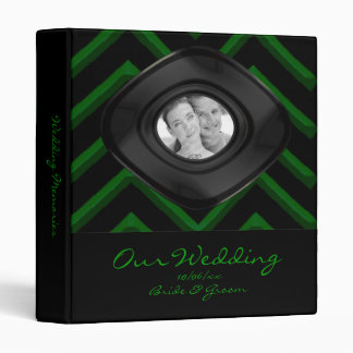 Customisable Chevron Emerald/Green (Wedding) Vinyl Binder
