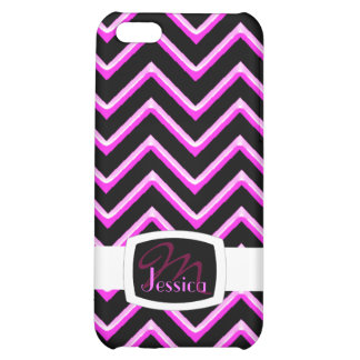 Customisable Chevron Hot Pink (Monogram) Cover For iPhone 5C