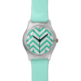 Customisable Chevron Mint Green Watch