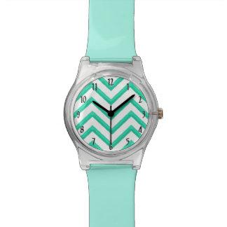 Customisable Chevron Mint Green Wristwatch