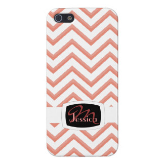 Customisable Chevron Peach Cover For iPhone 5/5S