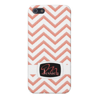 Customisable Chevron Peach (Monogram) Cover For iPhone 5