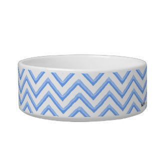 Customisable Chevron Powder Blue Bowl