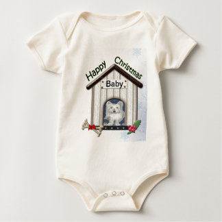 Customisable Christmas Westie Dog Gifts Baby Bodysuit