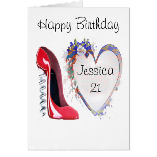 Customisable Corkscrew Stiletto and Heart Gifts Card