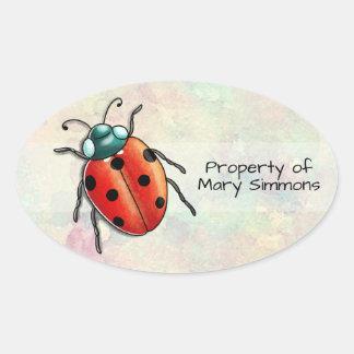 Customisable ladybird ladybug property oval sticker