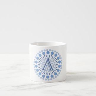 Customisable Monogram Blue Circles Espresso Cup