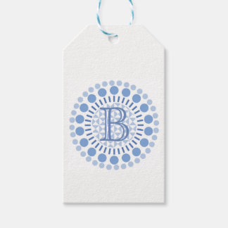 Customisable Monogram Blue Circles Gift Tag