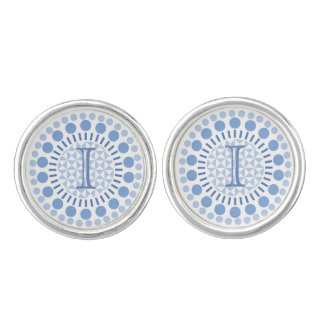 Customisable Monogram Blue Circles Round Cufflinks