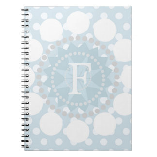 Customisable Monogram Blue Polka Spiral Notebook