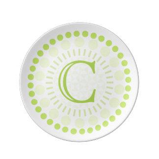 Customisable Monogram Circles Porcelain Plate