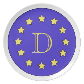 Customisable Monogram EU/Brexit Melamine Plate