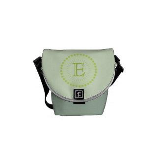 Customisable Monogram Green Mini-Messenger Bag Courier Bag