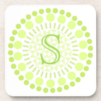 Customisable Monogram Lime Green Circle Coasters