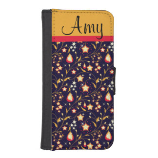 Customisable Night Stars Floral Pattern iPhone 5 Wallets