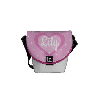 Customisable Pink Polka Dot Mini-Messenger Bag Courier Bag