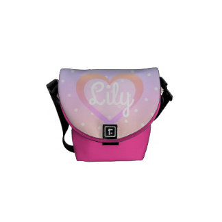 Customisable Pink Polka Dot Mini-Messenger Bag Courier Bag
