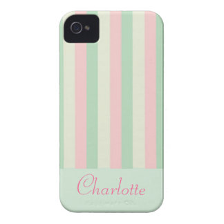 Customisable Pretty Girly Pastel Stripe iPhone 4 iPhone 4 Case-Mate Case
