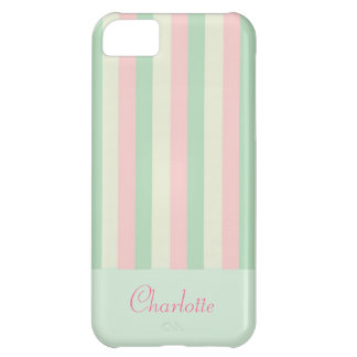 Customisable Pretty Girly Pastel Stripe iPhone Cov iPhone 5C Cases