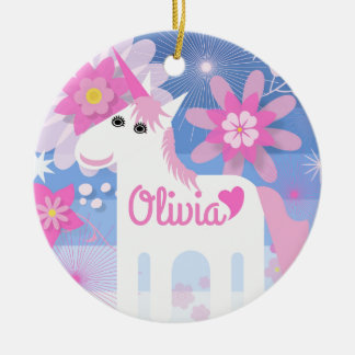 Customisable Pretty Pink Unicorn Circle Decoration