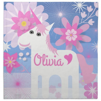 Customisable Pretty Pink Unicorn Cloth Napkins
