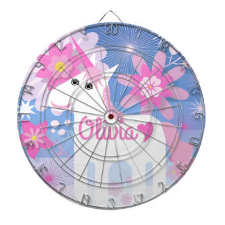 Customisable Pretty Pink Unicorn Dartboard