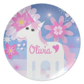 Customisable Pretty Pink Unicorn Melamine Plate