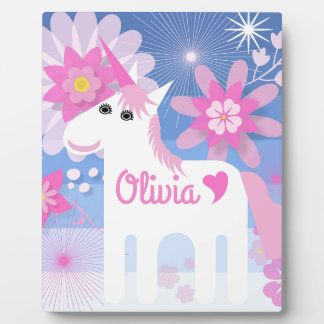 Customisable Pretty Pink Unicorn Plaque with Easel