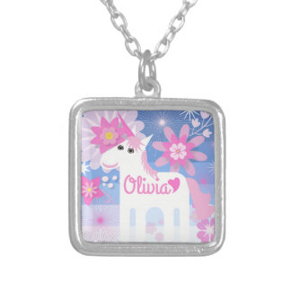 Customisable Pretty Pink Unicorn Square Pendant