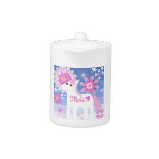 Customisable Pretty Pink Unicorn Teapot