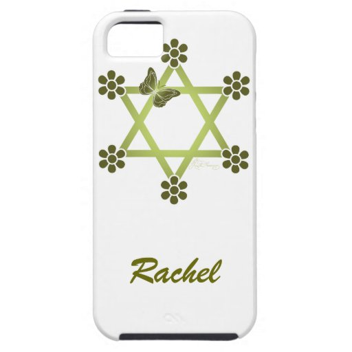Customisable Pretty Star Of David with Butterfly iPhone 5 Covers