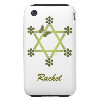 Customisable Pretty Star Of David with Butterfly iPhone 3 Tough Case