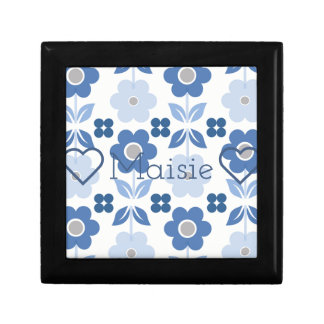 Customisable Retro Blue Flowers Jewellery/Gift Box